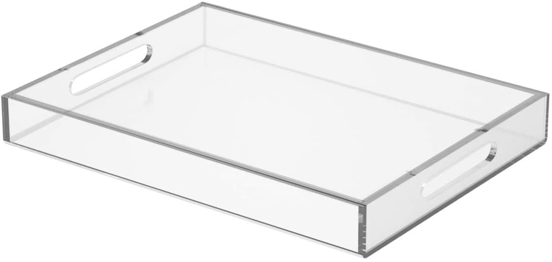 NIUBEE Clear Serving Tray 12x16 Inches -Spill Proof- Acrylic Decorative Tray Organiser for Ottoman Coffee Table Countertop with Handles