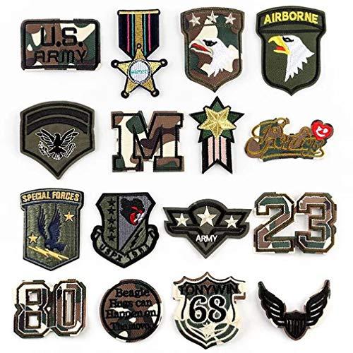 Bella 16pz Patches Applique Toppe Ricamato Ricamo Patch Stati Uniti America US Militare Distintivo Badge Aquila Stella Cool Craft Termoadesive per Giacca T-Shirt Borsa Regalo