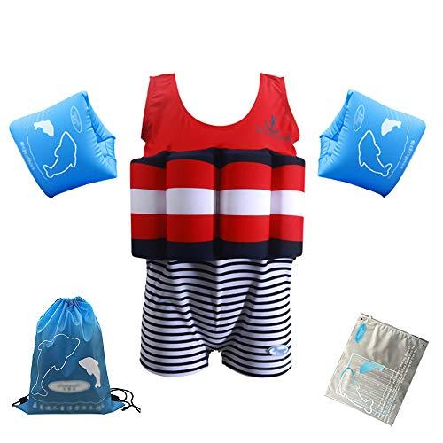 LK-HOME Schwimmanzug Für Jungen, Schwimmanzug Mit Verstellbarem Auftrieb, Schwimmtrainingskostüm Mit Armbändern, Badeanzug Für Kleinkinder,C,100