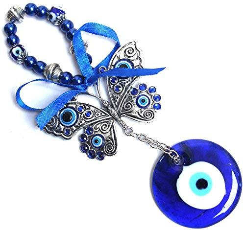 Türkisch Blau Böses Auge Amulett Glücklicher Schmetterling Schlüsselring Auto Charme Rückspiegel Spiegel Hängen Schutz Home Decor Segen Geschenk Improve