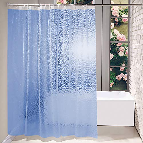 Addmluck Duschvorhang Anti-Schimmel Transparent 3D Kubisch Eva Wasserdicht Antibakteriell Vorhang für Dusche & Badewanne mit 12 Duschvorhangringen(183x183cm,Blau)
