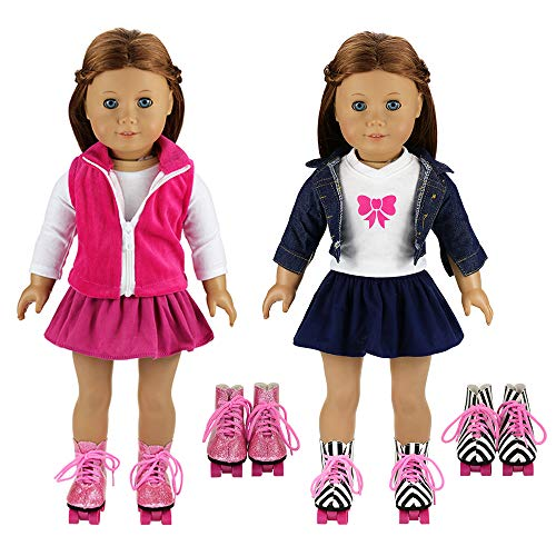 BARWA 2 Sets Doll Clothes and 2 Pairs Ice Skates Boots Shoes Fashion Autumn Clothing Dress Sets Compatible for 18 Inch Doll Xmas Gift