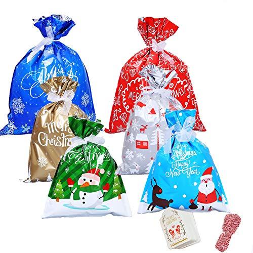 YAAVAAW 30Pz Bolsas de Regalos Navideños Grandes(con cintas y 50 etiquetas),Envoltura de Regalos Bolsas para Suministros de fiesta de Navidad,Bolsas de regalo de Año Nuevo