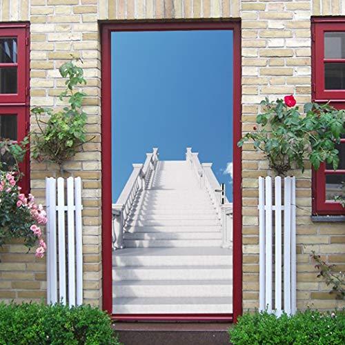 3D deur sticker ladder en blauwe hemel Europese stijl muurstickers slaapkamer woonkamer poster PVC waterdicht sticker Qt XingMU