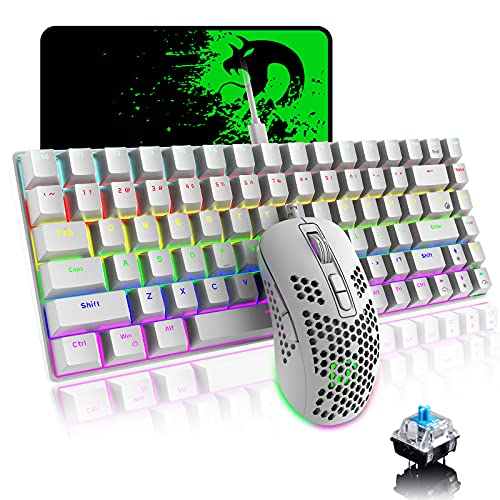 Mechanical Gaming Keyboard and Mouse Combo with 20 Rainbow Backlight 84 Key Anti-ghosting Ergonomic Waterproof Type-C Wired 6400 DPI Honeycomb Mice for PC Mac Gamer Computer Typist(White/Blue Switch)