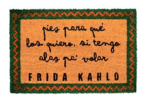 Felpudo Frida Kahlo - Felpudo entrada casa antideslizante 40 x 60 cm - Alfombra entrada casa exterior, Fabricado en fibra de coco - Productos con licencia oficial