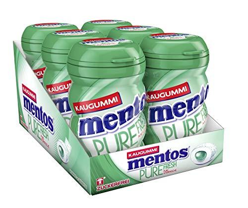 Mentos Kaugummi Pure Fresh Spearmint, 6er Box Kaugmmi-Dragees, zuckerfrei mit Spearmintgeschmack