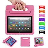 Kids Case for Fire HD 8 2020 with Handle | Blosomeet EVA Fire HD 8 Plus Case 10th Generation Kids Friendly Rugged Protective Lightweight Cover w/Stand | Shockproof 2020 Fire HD 8 Tablet Case | Pink