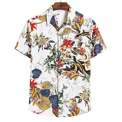 Camisa De Los Hombres Casual Retro Moda Solapa Hombres Manga Corta Vacaciones De Verano Versión Suelta Fresco...