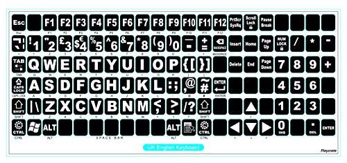 English UK Large Letter Replacement Non Transparent BLACK Stickers with White Letters - Suitable for ANY Keyboard