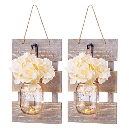 Mason Jar Wall Sconce Décor - RusticGrey Home Decoration Wall LED Farmhouse Decoration for Living Room Bedroom Silk Hydrangea Flowers and ecorative Hooks Farmhouse Kitchen 6 Hours Timer Set of 2