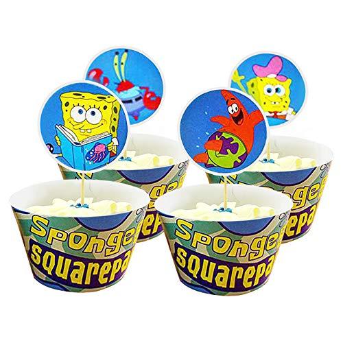 Yisscen Spongebob Cupcake Wrappers Papier 48 Stücke Muffins Dessert Dekoration Verpackung Topper für Kinder Partybedarf Weihnachts Dekorationen