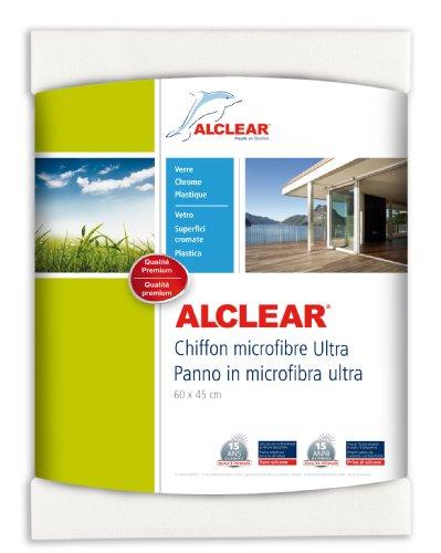 ALCLEAR 950002 Chamoisette en microfibre – idéale pour le nettoyage de voitures, de la maison, de vitres et du chrome – 60x45 cm, blanc