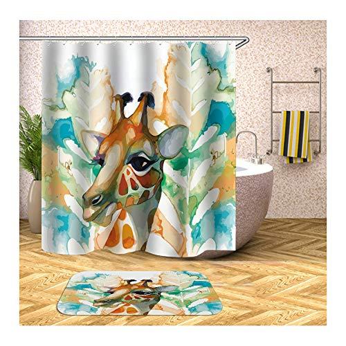 Amody Duschvorhang Teppich Badezimmer rutschfest Giraffe 150x200CM Badewanne Vorhang 40x60CM Badematte Antirutsch