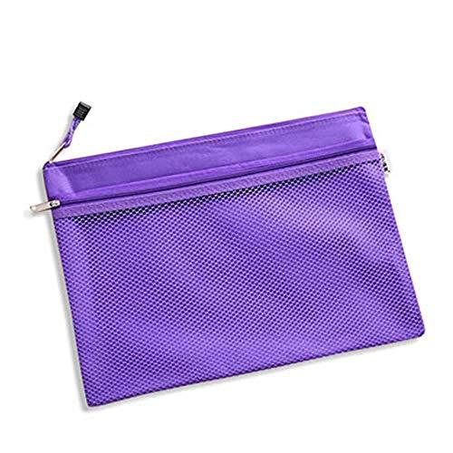 ファイルケース クリアケース カードケース ファイル袋 ペン入れファスナー式 撥水 持ち運びに便利 A4 網目 ファスナ 付き 5枚セット (パープル)