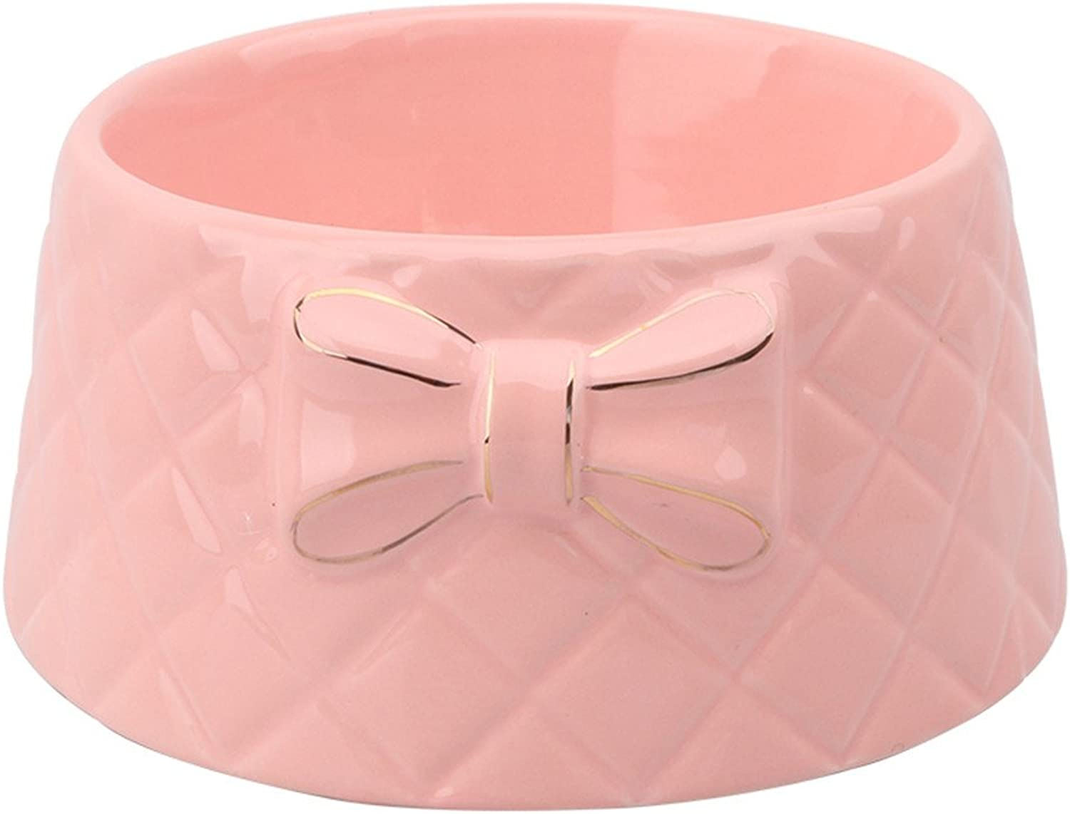 ForeverYou Pet Ceramic Bowl Dog cat Food Bowl Water Bowl Cute Bow Bone Bowl, Pink