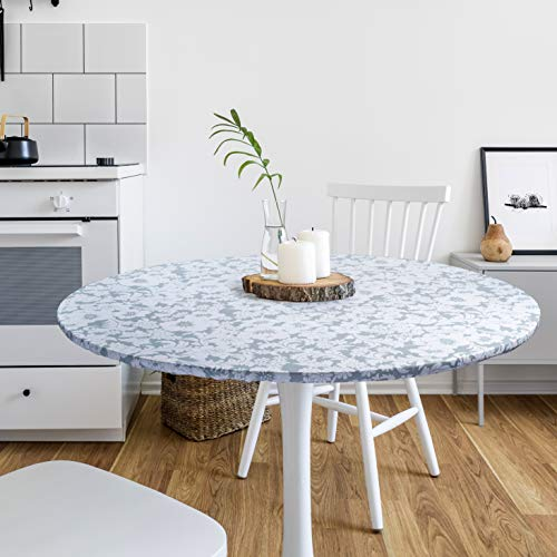 DecorGreat Fitted Round Vinyl Dining Table Covers, Waterproof Tablecloth with Elastic and Flannel Backing, Grey Flower Design fits Small and Large Tables