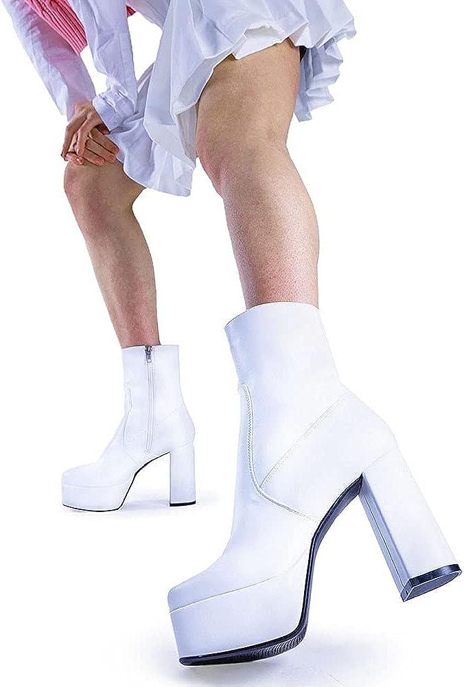 Womens GO GO Boots Platform Block High Heel Dress Costume Knee High Boots Side Zip Party Shoes For Women