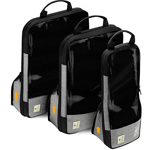 VASCO Compression Packing Cubes for Travel – Premium Set of 3 Luggage Organizer Bags Grey