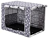 Dog Crate Cover Durable Polyester Pet Kennel Cover Universal Fit for Wire Dog Crate - Fits Most 24 inch Dog Crates - Cover only-Sky Gray-24