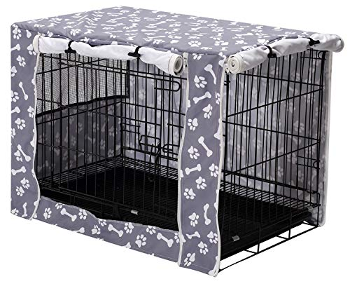Pethiy Dog Crate Cover Durable Polyester Pet Kennel Cover Universal Fit for Wire Dog Crate - Fits Most 42 inch Dog Crates - Cover only-Sky Gray-42