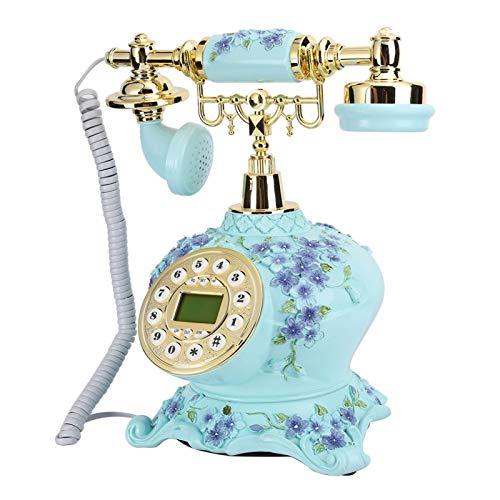 Haowecib Teléfono Fijo, teléfono Antiguo de Resina con retroiluminación Decortaive con función de grabación para el hogar