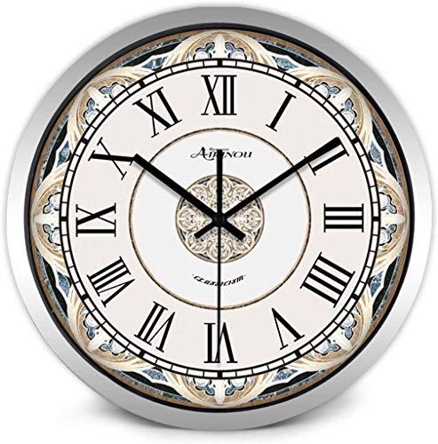 AIOJY Reloj Romano Europea Cuarzo De La Vendimia De Estar Oficina De Habitaciones/Reloj del Regalo para Los Niños,Plata,12'