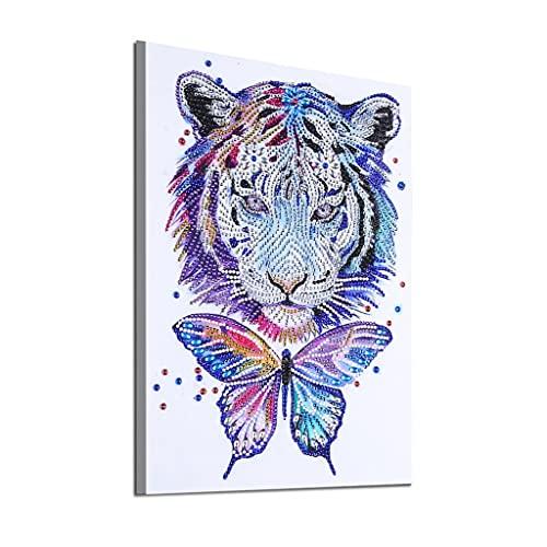 Pintura de diamante con tema de dibujos animados 5D círculo de bordado Alien Tigre mariposa pintura de cristal de diamantes de imitación decoración del hogar