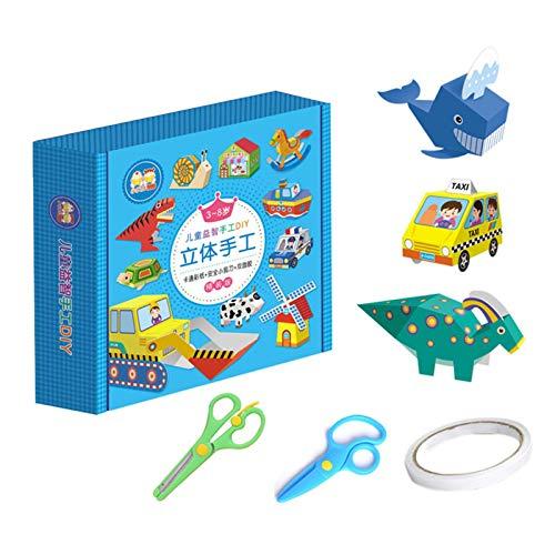 iBaste Papel 3D para origami plegable, material escolar, cada juego contiene 48 tarjetas de modelo, unas tijeras y una cinta adhesiva de doble cara.
