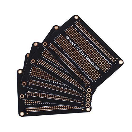 GeeekPi 5 Stk Proto Breadboard Platine Vergoldet Experimental Breadboard Löten Bord Doppelseitige PCB DIY Kit für Arduino (halbe Größe)
