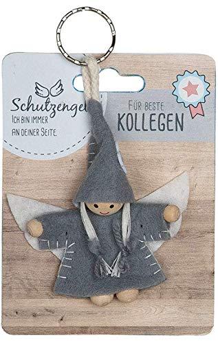 GILDE - 42643 - Schutzengel, Schlüsselanhänger, Wichtel, Für Beste Kollegen, Filz und Holz, 9cm, grau