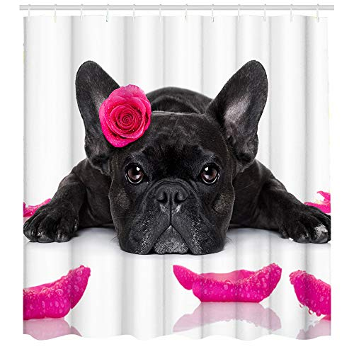 Funny Dog Shower Curtain Creative Pet Animal Black Bulldog Rose in Head Bathroom Decor Polyester Fabric Waterproof 72 x 72 Inches Include Hooks