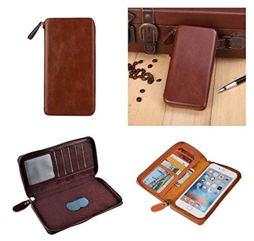 DFV mobile - Custodia Esecutiva con Portafoglio Fissaggio Magnetico e Chiusura a Cerniera per => LG PRADA 3.0 > Caffè
