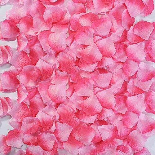 ILINKER - Petali di rosa in seta artificiale, ideali come decorazione per festa di nozze, 1000 pz, colore: mandarino Rosa e rosa.