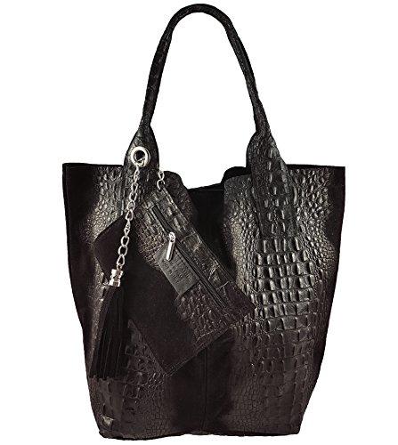 Freyday Damen Echtleder Shopper mit Schmucktasche in vielen Farben Schultertasche Henkeltasche Handtasche Metallic look (Schwarz Kroko)