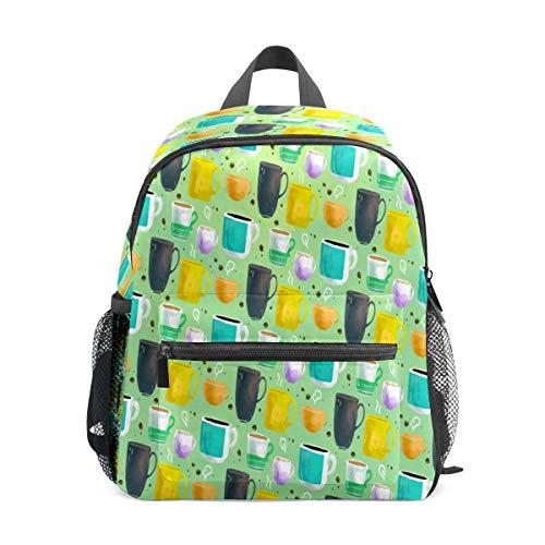 Preshool Rucksack Aquarell Kaffee Tasse buntes Muster Kleinkind Mini Schultasche Kinder Daypacks für Jungen Mädchen