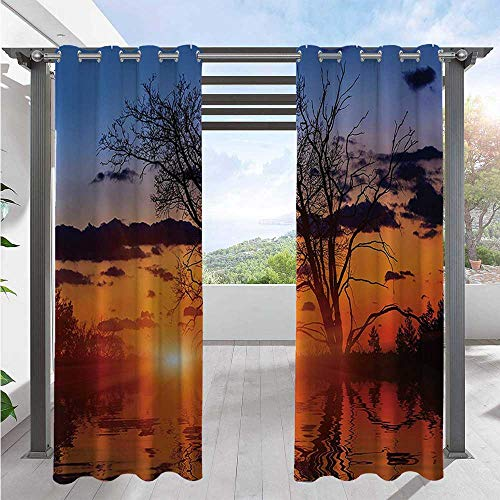 Outdoor Door Curtain The Time When the Sun Disappears or Day Light Fades Image with Oak Tree Mirror Effect Outdoor Privacy Porch Curtains for Pergola, Porch, Cabana and Gazebo Blue W108 x L96 Inch