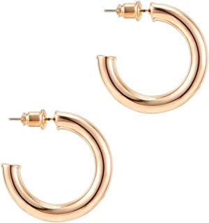 14K Gold Colored Lightweight Chunky Open Hoops | Gold...