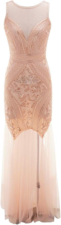 COMVIP Women Sleeveless Backless Transparent Sequin Maxi Prom Dress