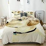 VISALUNA Bettwäsche 220x240cm Aquarell Mode Gelb Labortiere Tierwelt Hund Zeichnung Labrador Retriever Haustier Realismus,3teilig Bettwäsche Bettbezüge mit 2 mal 50x80cm Kissenbezug