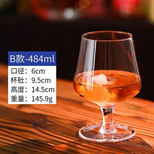 Luxury glass 6 Brandy bekers, buitenlandse wijnbeker, korte poten rode wijnbeker, creatieve whisky, tweedehands bier, wijnbeker, super groot, deel B - 484 ml inhoud