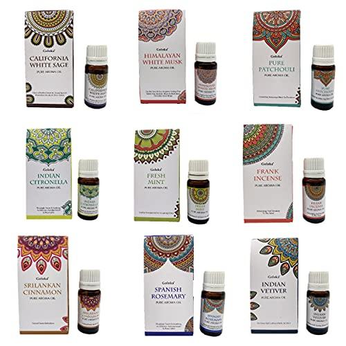 Set de 9 Aceites Aromáticos esenciales Goloka + quemador aleatorio gratis y REGALO 40 velas té