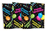 Celebration Tablecloths 17 x 17 Inch Happy Birthday Napkins (4 Pack) Black Restaurant Quality Polyester Fabric Machine Wash and Dry No Wrinkles No Iron No Stains Made in USA Birthday Party