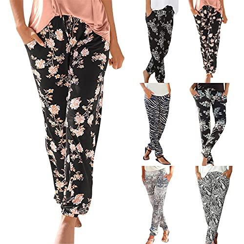 riou Pantalones Mujer Cintura Alta Boho Verano con Estampado Pants de harén, Pantalones de Playa Casuales fluidos Hippie Danza Pilates Yoga Pants