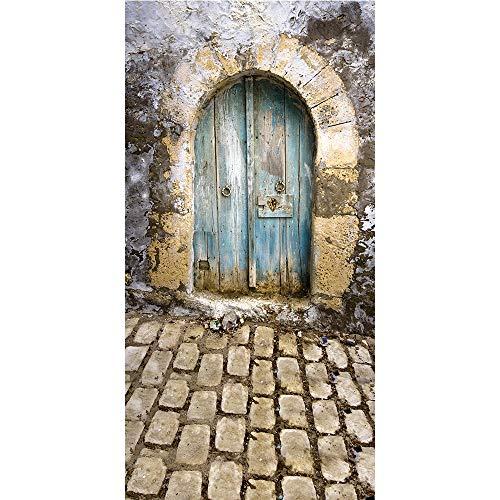 Muzi Fotografie Achtergronden Papier Oude Vintage gebogen deur muur en stenen vloer Photo Achtergrond Voor Studio Props 150x300cm D-9032