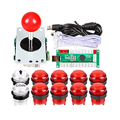 EG STARTS Zero Delay USB LED Encoder To PC Games Red Stickers Controllers + 10x LED Illuminated Push Buttons For Arcade Joystick DIY Kits Parts Mame Raspberry Pi