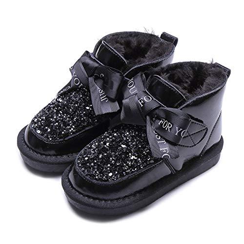 Meng Zapatos Invierno Niña Niño Botas de Nieve Forradas Zapatillas Botón Botines Planas para Unisex (Color : Black, Size : 37)