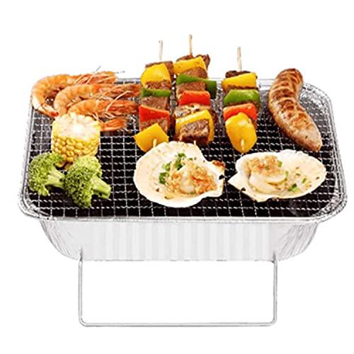 N\A Instant Portable Barbecue Einweg-Aluminiumfolie BBQ Grill Mit Ständer Für Partys Picknick Festivals Camping Silber