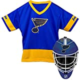 Franklin Sports St. Louis Blues Kid's Hockey Costume Set - Youth Jersey & Goalie Mask - Halloween Fan Outfit - NHL Official Licensed Product