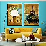 Impressions sur toile Nordique Rétro Affiche Tour Arc de Triomphe Paris Rue Paysage Architectural Toile Peinture Décoration de La Maison Mur Art Picture50x70cmx2Pas de Cadre
